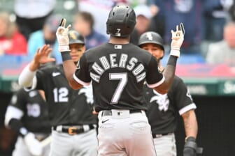 Sep 23, 2021; Cleveland, Ohio, USA; Chicago White Sox shortstop Tim Anderson (7) celebrates after hitting his second home run of the game during the second inning against the Cleveland Indians at Progressive Field. Mandatory Credit: Ken Blaze-USA TODAY Sports