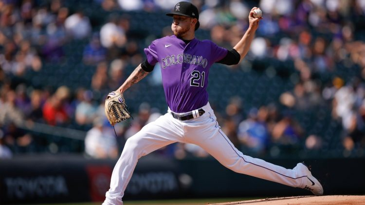 Sep 23, 2021; Denver, Colorado, USA; Colorado Rockies starting pitcher Kyle Freeland (21) pitches in the first inning against the Los Angeles Dodgers at Coors Field. Mandatory Credit: Isaiah J. Downing-USA TODAY Sports