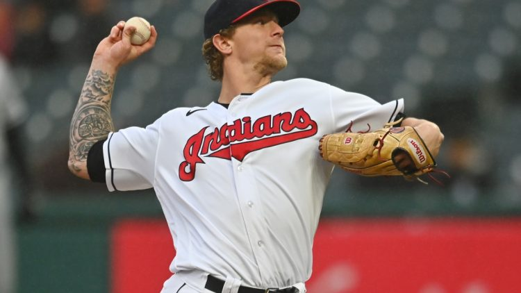 Sep 23, 2021; Cleveland, Ohio, USA; Cleveland Indians starting pitcher Zach Plesac (34) throws a pitch during the first inning against the Chicago White Sox at Progressive Field. Mandatory Credit: Ken Blaze-USA TODAY Sports
