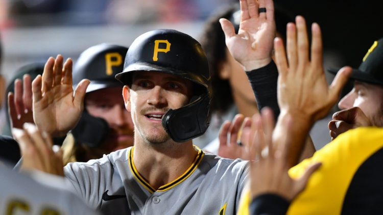Sep 24, 2021; Philadelphia, Pennsylvania, USA; Pittsburgh Pirates infielder Kevin Newman (27) celebrates with teammates after scoring in the fourth inning against the Philadelphia Phillies at Citizens Bank Park. Mandatory Credit: Kyle Ross-USA TODAY Sports