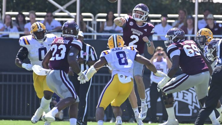 Sep 25, 2021; Starkville, Mississippi, USA; Mississippi State Bulldogs quarterback Will Rogers (2) makes a pass against the LSU Tigers during the second quarter at Davis Wade Stadium at Scott Field. Mandatory Credit: Matt Bush-USA TODAY Sports
