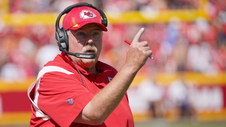 Sep 26, 2021; Kansas City, Missouri, USA; Kansas City Chiefs head coach Andy Reid motions to an official against the Los Angeles Chargers during the first half at GEHA Field at Arrowhead Stadium. Mandatory Credit: Denny Medley-USA TODAY Sports