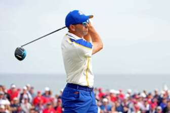 Sep 26, 2021; Haven, Wisconsin, USA; Team Europe player Sergio Garcia plays his shot from the second tee during day two four-ball rounds for the 43rd Ryder Cup golf competition at Whistling Straits. Mandatory Credit: Kyle Terada-USA TODAY Sports