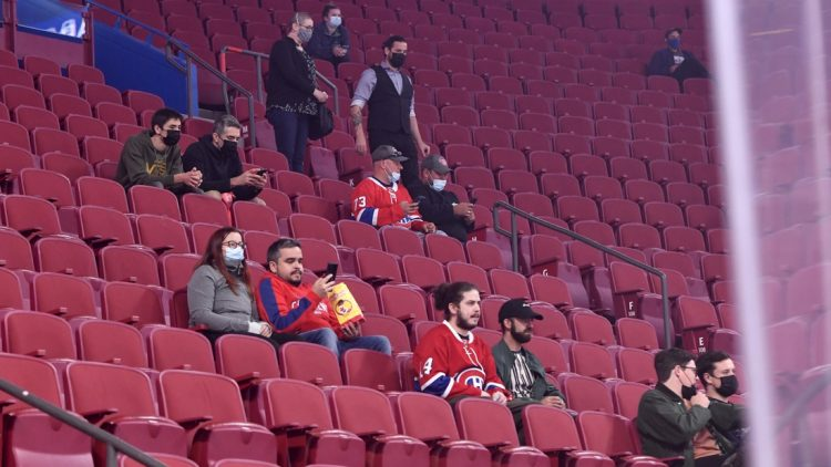 Sep 27, 2021; Montreal, Quebec, CAN; Some of the 7500 fans allowed in look on during the warmup period before a game between the Toronto Maple Leafs and the Montreal Canadiens at the Bell Centre. Mandatory Credit: Eric Bolte-USA TODAY Sports