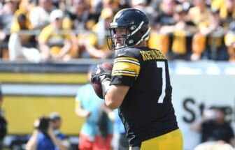 Sep 19, 2021; Pittsburgh, Pennsylvania, USA;  Pittsburgh Steelers quarterback Ben Roethlisberger looks for a receiver as they play the Las Vegas Raiders during the first quarter at Heinz Field. The Raiders won the game 26-17. Mandatory Credit: Philip G. Pavely-USA TODAY Sports