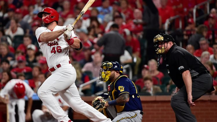 Sep 28, 2021; St. Louis, Missouri, USA;  St. Louis Cardinals first baseman Paul Goldschmidt (46) hits a single during the third inning against the Milwaukee Brewers at Busch Stadium. Mandatory Credit: Jeff Curry-USA TODAY Sports