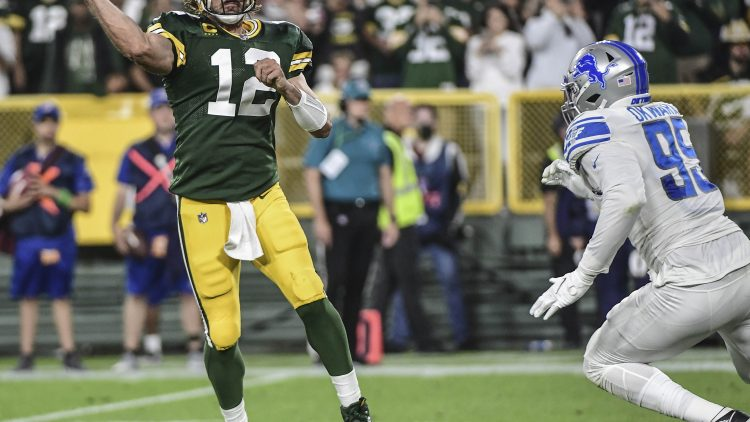 green bay packers' aaron rodgers against detroit lions