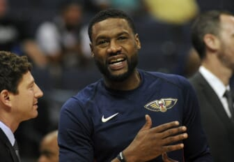 Oct 13, 2017; Memphis, TN, USA; New Orleans Pelicans guard Tony Allen (24) before the game against the Memphis Grizzlies at FedExForum. Mandatory Credit: Justin Ford-USA TODAY Sports