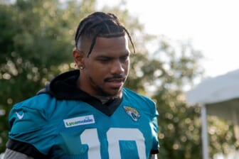 Jul 25, 2019; Jacksonville, FL, USA; Jacksonville Jaguars wide receiver Terrelle Pryor (10) enters the field during training camp at Dream Finders Home Practice Complex. Mandatory Credit: Douglas DeFelice-USA TODAY Sports