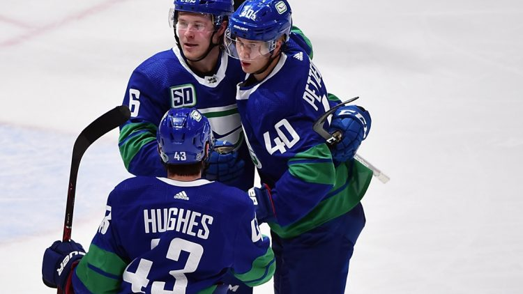 Dec 28, 2019; Vancouver, British Columbia, CAN;  Vancouver Canucks forward Elias Pettersson (40) celebrates his goal  against Los Angeles Kings goaltender Jonathan Quick (32) (not pictured) with Vancouver Canucks defenseman Quinn Hughes (43) and forward Brock Boeser (6) during the third period at Rogers Arena. Mandatory Credit: Anne-Marie Sorvin-USA TODAY Sports