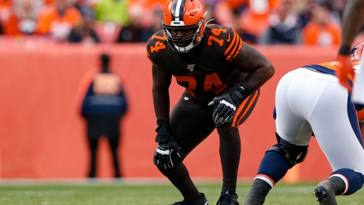 Nov 3, 2019; Denver, CO, USA; Cleveland Browns offensive tackle Chris Hubbard (74) in the second quarter against the Denver Broncos at Empower Field at Mile High. Mandatory Credit: Isaiah J. Downing-USA TODAY Sports