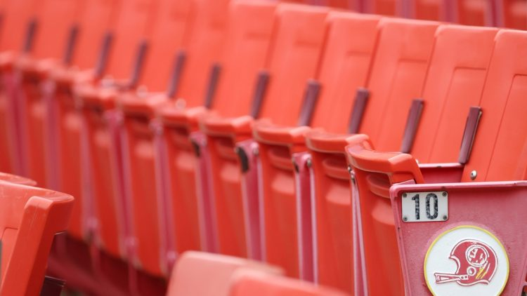 Aug 31, 2020; Washington, DC, United States; A view of seats in the stands wit the retired Washington Redskins logo during a Washington Football Team practice at Fedex Field. Mandatory Credit: Geoff Burke-USA TODAY Sports