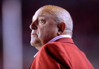 Wisconsin athletic director Barry Alvarez is shown on the sidelines during the first quarter against Utah State at Camp Randall Stadium on September 1, 2017, Madison, Wisconsin.  Ncaa Football Utah State At Wisconsin