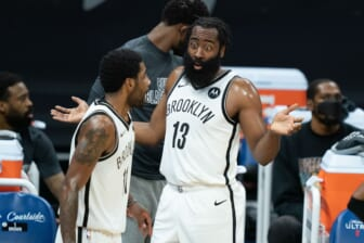 February 15, 2021; Sacramento, California, USA;  Brooklyn Nets guard James Harden (13, right) and guard Kyrie Irving (11, left) during the first quarter against the Sacramento Kings at Golden 1 Center. Mandatory Credit: Kyle Terada-USA TODAY Sports