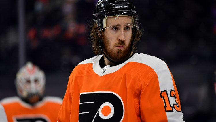 Apr 17, 2021; Philadelphia, Pennsylvania, USA; Philadelphia Flyers center Kevin Hayes (13) looks on in the third period against the Washington Capitals at Wells Fargo Center. Mandatory Credit: Kyle Ross-USA TODAY Sports