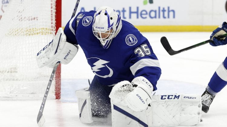 Apr 22, 2021; Tampa, Florida, USA; Tampa Bay Lightning goaltender Curtis McElhinney (35) makes a save against the Columbus Blue Jackets during the second period at Amalie Arena. Mandatory Credit: Kim Klement-USA TODAY Sports