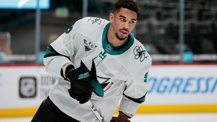 Apr 30, 2021; Denver, Colorado, USA; San Jose Sharks left wing Evander Kane (9) before the game against the Colorado Avalanche at Ball Arena. Mandatory Credit: Isaiah J. Downing-USA TODAY Sports