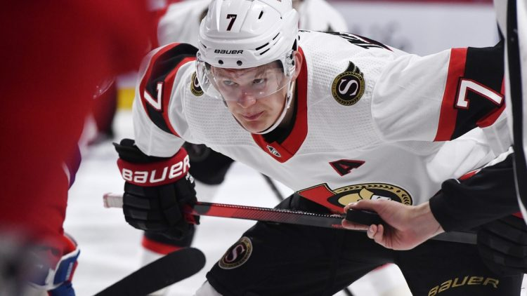 May 1, 2021; Montreal, Quebec, CAN; Ottawa Senators forward Brady Tkachuk (7) prepares for a face off against the Montreal Canadiens during the third period at the Bell Centre. Mandatory Credit: Eric Bolte-USA TODAY Sports