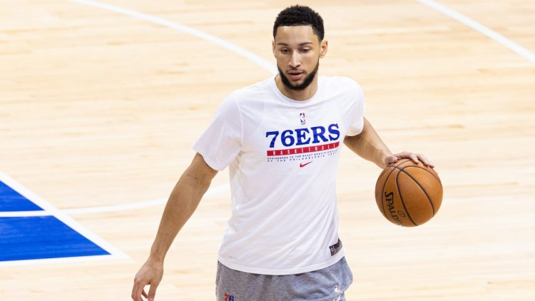 Jun 20, 2021; Philadelphia, Pennsylvania, USA; Philadelphia 76ers guard Ben Simmons warms up before game seven of the second round of the 2021 NBA Playoffs against the Atlanta Hawks at Wells Fargo Center. Mandatory Credit: Bill Streicher-USA TODAY Sports