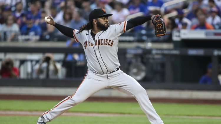 Aug 25, 2021; New York City, New York, USA;  San Francisco Giants pitcher Johnny Cueto (47) pitches in the first inning against the New York Mets at Citi Field. Mandatory Credit: Wendell Cruz-USA TODAY Sports