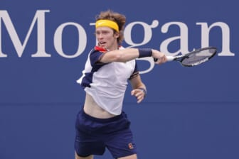 Sep 1, 2021; Flushing, NY, USA; Andrey Rublev of Russia hits a forehand against Pedro Martinez of Spain (not pictured) on day three of the 2021 U.S. Open tennis tournament at USTA Billie Jean King National Tennis Center. Mandatory Credit: Geoff Burke-USA TODAY Sports