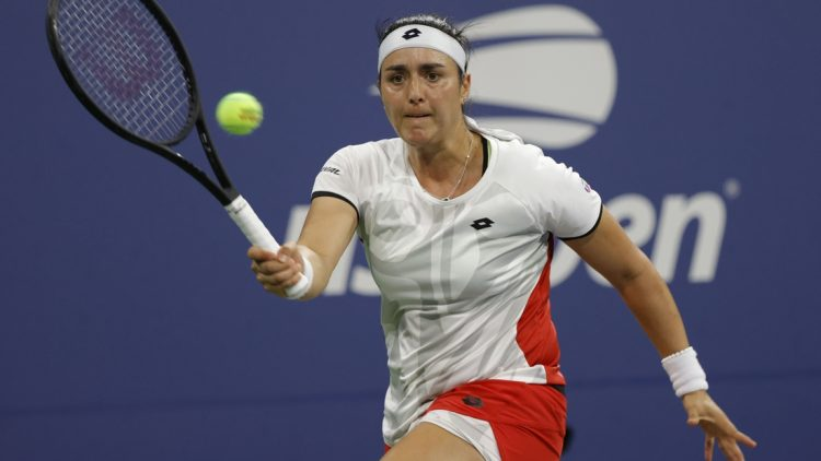 Sep 3, 2021; Flushing, NY, USA; Ons Jabeur of Tunisia hits a forehand against Elise Mertens of Belgium (not pictured) on day five of the 2021 U.S. Open tennis tournament at USTA Billie Jean King National Tennis Center. Mandatory Credit: Geoff Burke-USA TODAY Sports