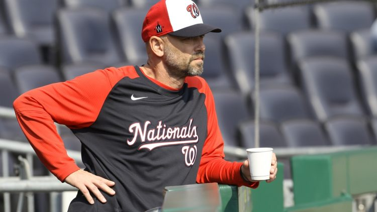 Sep 12, 2021; Pittsburgh, Pennsylvania, USA;  Washington Nationals hitting coach Kevin Long (54) looks on before the game against the Pittsburgh Pirates at PNC Park. Mandatory Credit: Charles LeClaire-USA TODAY Sports