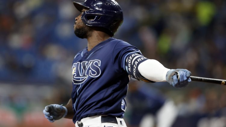 Sep 17, 2021; St. Petersburg, Florida, USA;  Tampa Bay Rays left fielder Randy Arozarena (56) doubles during the first inning against the Detroit Tigers at Tropicana Field. Mandatory Credit: Kim Klement-USA TODAY Sports