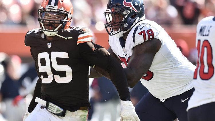 Sep 19, 2021; Cleveland, Ohio, USA; Houston Texans offensive tackle Laremy Tunsil (78) blocks Cleveland Browns defensive end Myles Garrett (95) during the second half at FirstEnergy Stadium. Mandatory Credit: Ken Blaze-USA TODAY Sports