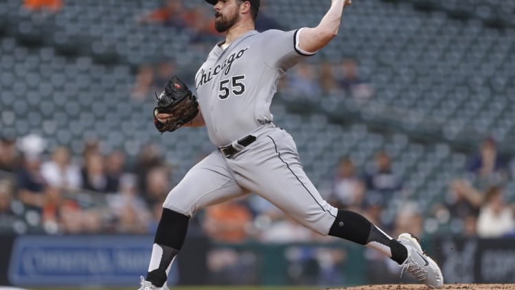 Sep 20, 2021; Detroit, Michigan, USA; Chicago White Sox starting pitcher Carlos Rodon (55) throws against the Detroit Tigers during the second inning at Comerica Park. Mandatory Credit: Raj Mehta-USA TODAY Sports