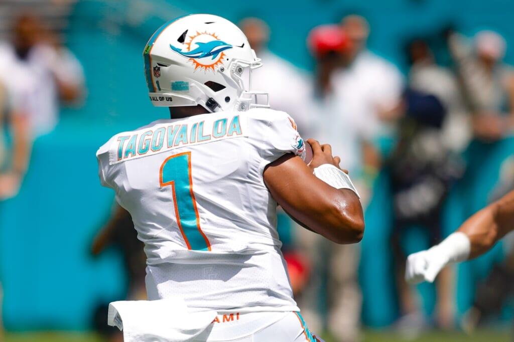 Sep 19, 2021; Miami Gardens, Florida, USA; Miami Dolphins quarterback Tua Tagovailoa (1) attempts to throw the football during the first quarter of the game against the Buffalo Bills at Hard Rock Stadium. Mandatory Credit: Sam Navarro-USA TODAY Sports