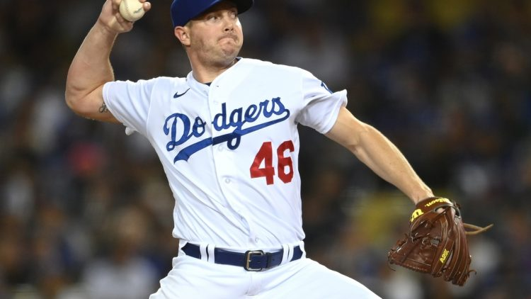 Sep 30, 2021; Los Angeles, California, USA;  Los Angeles Dodgers relief pitcher Corey Knebel (46) in the sixth inning of the game against the San Diego Padres at Dodger Stadium. Mandatory Credit: Jayne Kamin-Oncea-USA TODAY Sports