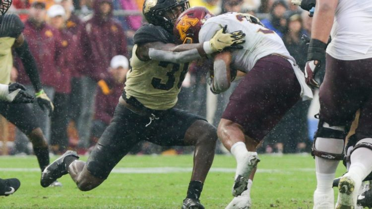 Purdue linebacker Jaylan Alexander (36) tackles Minnesota running back Trey Potts (3) during the third quarter of an NCAA college football game, Saturday, Oct. 2, 2021 at Ross-Ade Stadium in West Lafayette, Ind.  Cfb Purdue Vs Minnesota