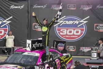 Oct 2, 2021; Talladega, AL, USA; NASCAR Xfinity Series driver Brandon Brown celebrates after he won the darkness shortened race at Talladega Speedway. Mandatory Credit: Marvin Gentry-USA TODAY Sports