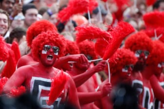 Georgia fans root on their team during the first half of an NCAA college football game between Arkansas and Georgia in Athens, Ga., on Saturday, Oct. 2, 2021.  News Joshua L Jones