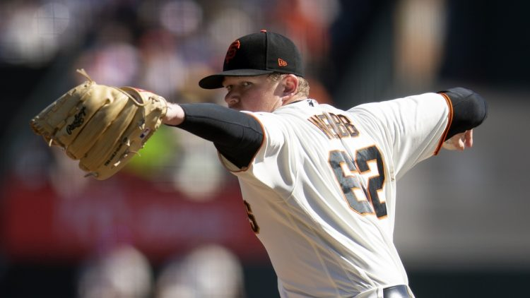 Oct 3, 2021; San Francisco, California, USA; San Francisco Giants starting pitcher Logan Webb (62) delivers against the San Diego Padres during the first inning at Oracle Park. Mandatory Credit: D. Ross Cameron-USA TODAY Sports