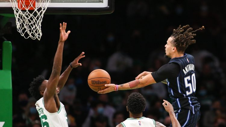 Oct 4, 2021; Boston, Massachusetts, USA; Orlando Magic guard Cole Anthony (50) passes the ball during the second half against the Boston Celtics at TD Garden. Mandatory Credit: Paul Rutherford-USA TODAY Sports