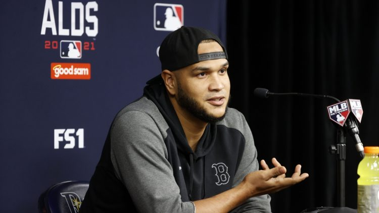 Oct 6, 2021; Tampa, Florida, USA; Boston Red Sox starting pitcher Eduardo Rodriguez (57) talks with media before ALDS workouts against the Tampa Bay Rays at Tropicana Field. Mandatory Credit: Kim Klement-USA TODAY Sports