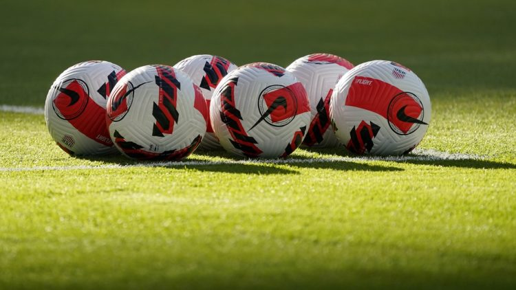 Oct 7, 2021; Austin, Texas, USA; A detailed view of soccer balls before the FIFA World Cup Qualifier between Jamaica and the United States at Q2 Stadium. Mandatory Credit: Chuck Burton-USA TODAY Sports