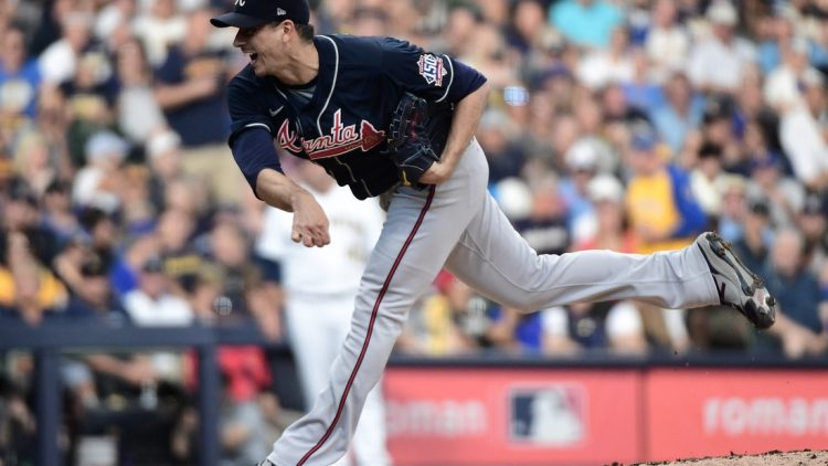 Oct 8, 2021; Milwaukee, Wisconsin, USA; Atlanta Braves starting pitcher Charlie Morton (50) pitches in the second inning against the Milwaukee Brewers during game one of the 2021 NLDS at American Family Field. Mandatory Credit: Benny Sieu-USA TODAY Sports