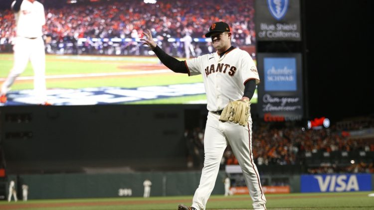 Oct 8, 2021; San Francisco, California, USA; San Francisco Giants starting pitcher Logan Webb (62) walks off the field after being relieved in the eighth inning against the Los Angeles Dodgers during game one of the 2021 NLDS at Oracle Park. Mandatory Credit: D. Ross Cameron-USA TODAY Sports