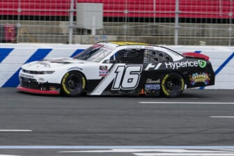 Oct 9, 2021; Concord, NC, USA; NASCAR Xfinity Series driver AJ Allmendinger (16) increases his lead during the Drive for the Cure 250 at Charlotte Motor Speedway. Mandatory Credit: Jim Dedmon-USA TODAY Sports