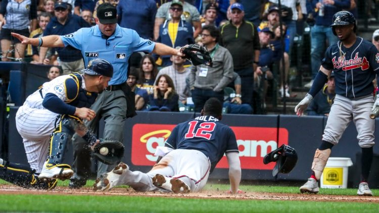 Atlanta Braves rightfielder Jorge Soler (12) scores the first run in the top of the third inning during Game 2 of the National League Division Series on Saturday, Oct. 9, 2021, at American Family Field.  Mjs 100921brewers48355 2