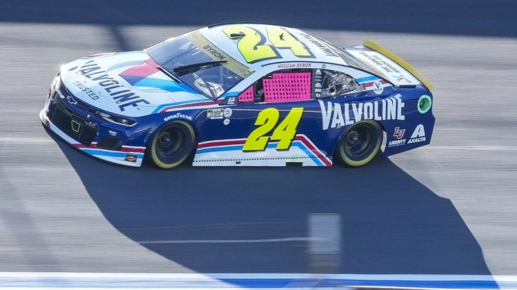 Oct 10, 2021; Concord, North Carolina, USA; NASCAR Cup Series driver William Byron (24) on the banking during the Bank of America Roval 400 at Charlotte Motor Speedway Road Course. Mandatory Credit: Jim Dedmon-USA TODAY Sports