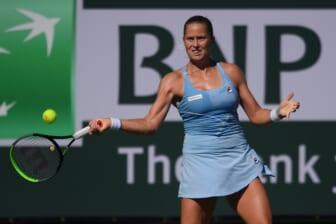 Oct 10, 2021; Indian Wells, CA, USA; Shelby Rogers (USA) hits a shot against Irina-Camelia Begu (ROU) at Indian Wells Tennis Garden. Mandatory Credit: Orlando Ramirez-USA TODAY Sports