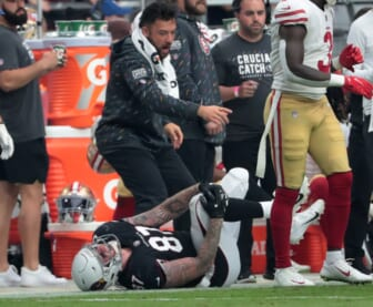 Oct 10, 2021; Glendale, Arizona, USA; Arizona Cardinals tight end Maxx Williams (87) grabs his knee after a catch and run against the San Francisco 49ers during the second quarter at State Farm Stadium. He was taken off the field on a cart. Mandatory Credit: Michael Chow-USA TODAY Sports