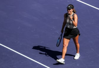 Jessica Pegula of the United States celebrates a win over Elina Svitolina of Ukraine in their round four match of the BNP Paribas Open, Tuesday, Oct. 12, 2021, in Indian Wells, Calif.