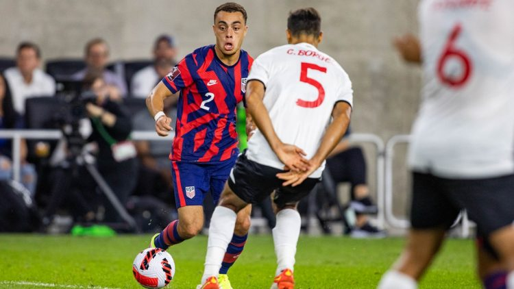 Oct 13, 2021; Columbus, Ohio, USA; the United States defender Sergino Dest (2) dribbles the ball while Costa Rica midfielder Celso Borges (5) defends  during a FIFA World Cup Qualifier soccer match at Lower.com Field. Mandatory Credit: Trevor Ruszkowski-USA TODAY Sports
