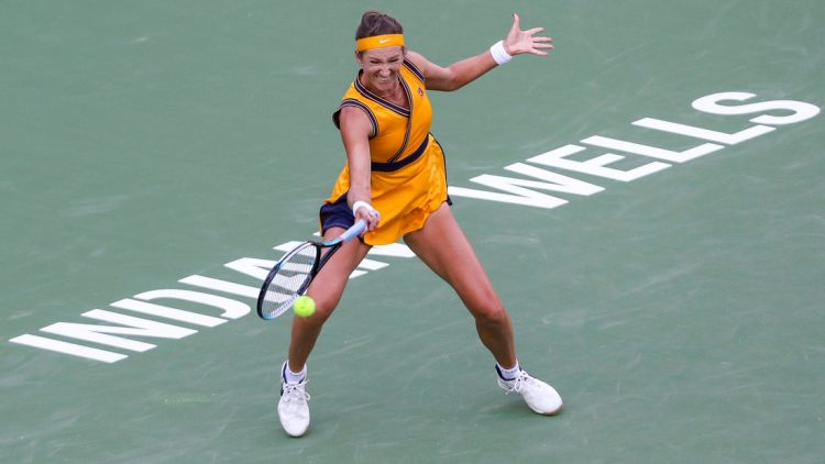 Victoria Azarenka of Belarus returns to Jessica Pegula of the United States during their quarterfinal match of the BNP Paribas Open, Wednesday, Oct. 13, 2021, in Indian Wells, Calif.