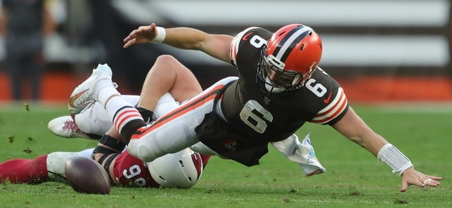 Cleveland Browns quarterback Baker Mayfield (6) fumbles the ball as he is brought down by Arizona Cardinals defensive end J.J. Watt (99) during the second half of an NFL football game at FirstEnergy Stadium, Sunday, Oct. 17, 2021, in Cleveland, Ohio. [Jeff Lange/Beacon Journal]  Browns 5